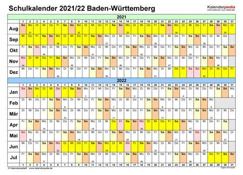 Baden württemberg ferien 2021 kalender 2021 net januar februar märz april mai juni juli august september oktober november dezember 1 fr neujahr 1 mo 5 1 mo 9 1 do 1 sa tag der arbeit 1 di 1 do 1 so 1 mi 1 fr 1 mo 1 mi 2 sa 2 di 2 di 2 fr. Schulkalender 2021/2022 Baden-Württemberg für Excel