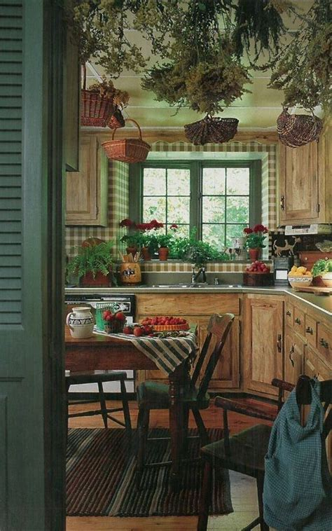 country living 500 kitchen ideas green kitchen with plaid wallpaper and primitive details 8470