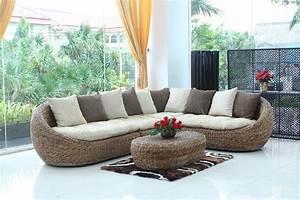 salon With canapé d angle en rotin tressé