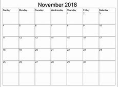 November 2018 Calendar Printable Blank Templates Free