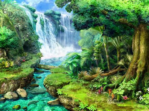 waterfall city wallpaper fantasy wallpapers 18626 chainimage