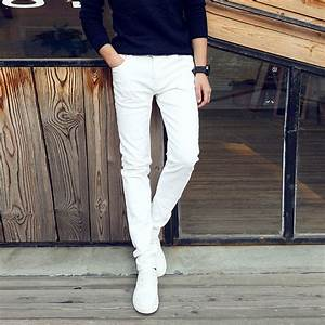 Aliexpress.com  Buy Fashion 2017 Summer Casual Thin Youth business white Stretch jeans pants ...