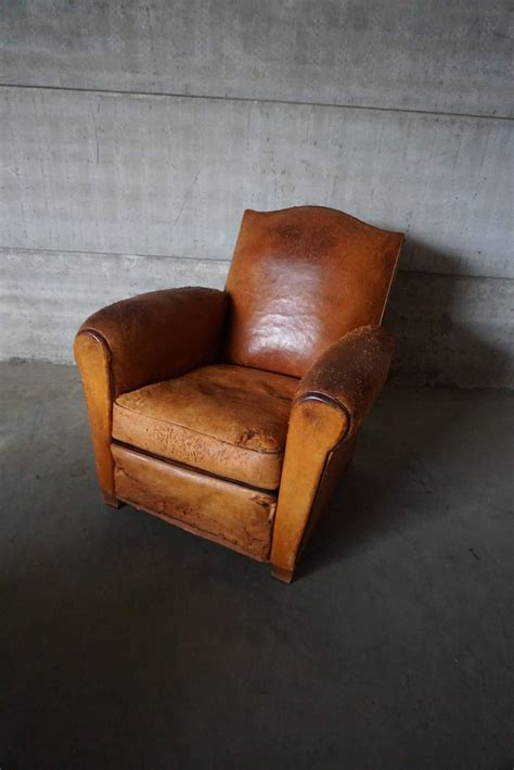 vintage distressed cognac leather club chair 1930s
