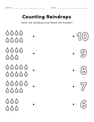 counting raindrops worksheet education 102 | counting raindrops counting numbers life