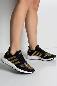 Adidas Women 39 S Swift Run Sneakes In Black Gold White