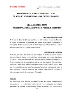 LEGAL PROCESS TESTS FOR INTERNATIONAL ADOPTION: A POSSIBLE