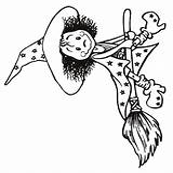 Sorciere Witch Dessin Son Broom Balai sketch template