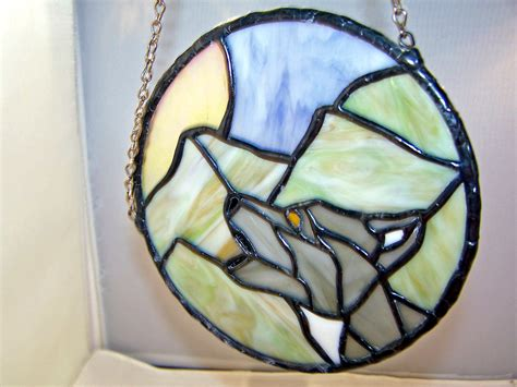 stained glass ls for sale sale stained glass wolf suncatcher