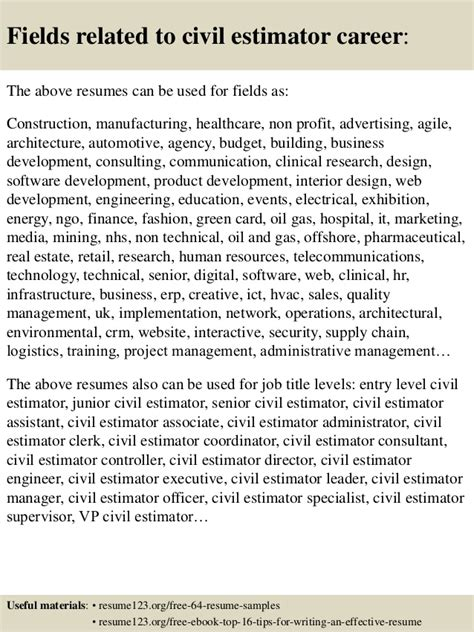 top 8 civil estimator resume sles