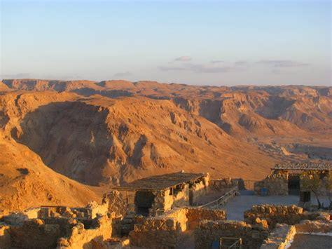 desert landscape and masada ruins