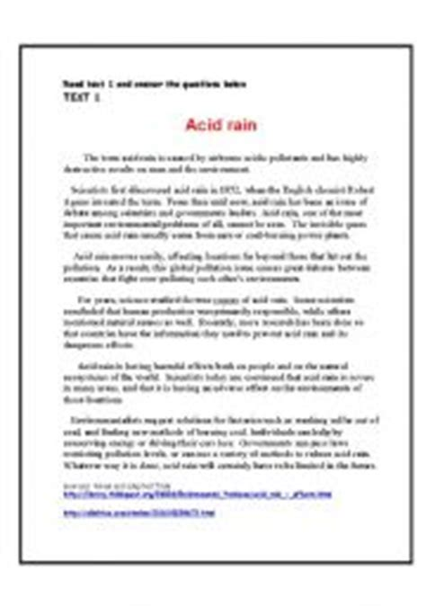 Environmental Problems (acid Rain) Reading Comprehension Theme The World Around Us