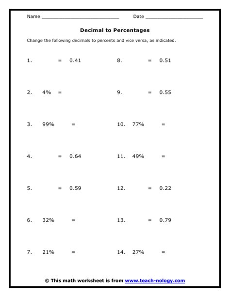 7th grade percentage worksheets decimal to percentages