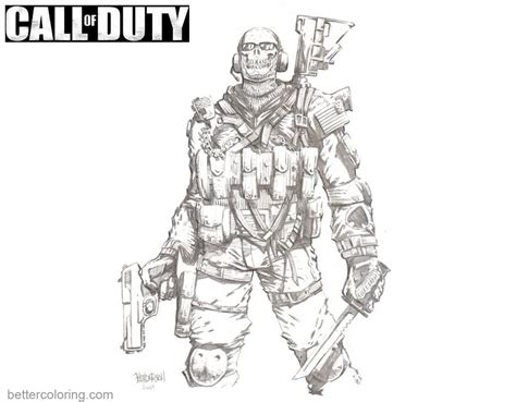call color call of duty ghost coloring pages free printable