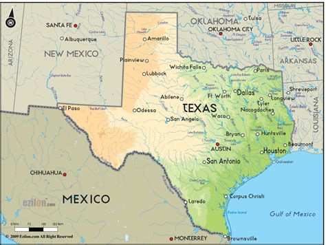geographical map  texas  texas geographical maps