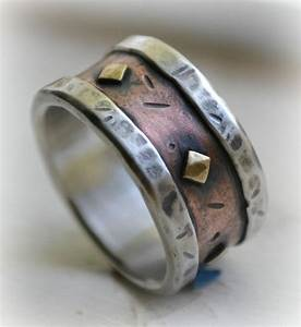 mens wedding band rustic fine silver copper and brass With mens wide band wedding rings