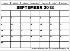 September 2018 Calendar Template calendar monthly printable