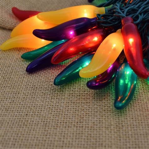 green yellow and purple chili pepper string lights