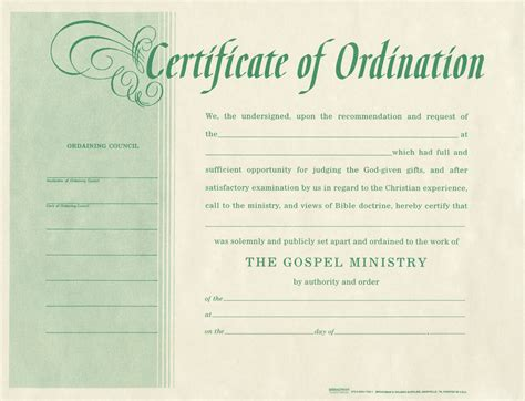 ordination certificate template ordination for minister b h publishing