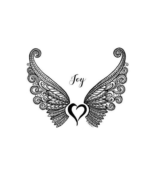 Joy, Angel Wings, Inspiration, Zentangle, Art, Drawings, Pen and Ink, Black and White, Hand