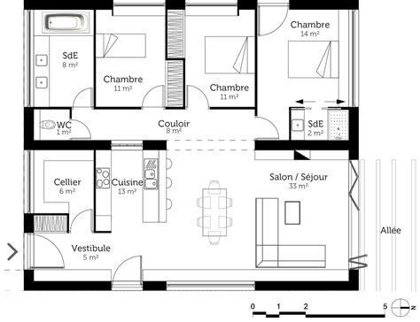 plan maison 3 chambres plan maison à toit plat 110 m ooreka