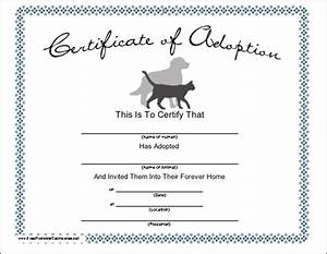 blank adoption certificate for a adopt a puppy birthday With blank adoption certificate template
