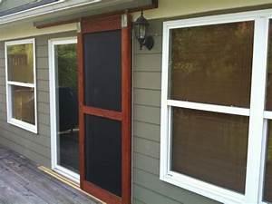 built a sliding screen door the garage journal board With removable dog door for sliding glass door