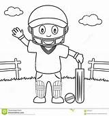 Cricket Playing Boy Coloring Park Cute Drawing Illustration Preview Vector sketch template