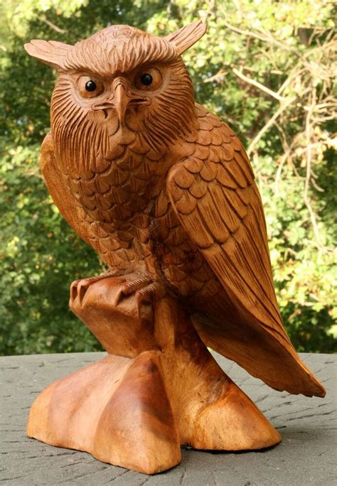 "12"" Large Wooden Owl Statue Hand Carved Sculpture Figurine"