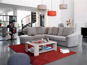 Canape gris tapis rouge conforama salon living room for Tapis rouge avec canapé design suisse