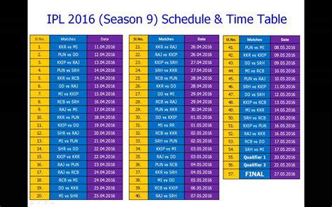 ipl 2016 schedule time table season 9