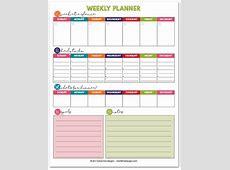 Free Printable Weekly Planner Calendar, Meals, ToDo