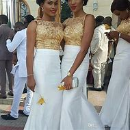African Gold and White Wedding Dress