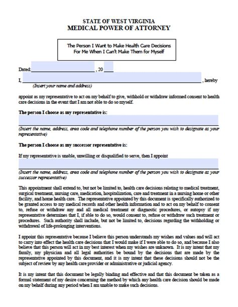 virginia power of attorney form pdf west virginia medical power of attorney form power of