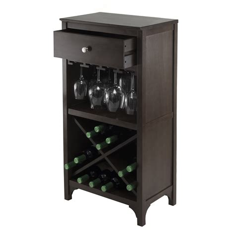 wine glass cabinet winsome 92745 ancona modular wine cabinet with 1 drawer