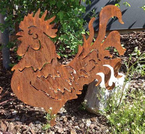 Tiere Aus Metall  Deko Für Den Garten  Hahn Rostig 40cm