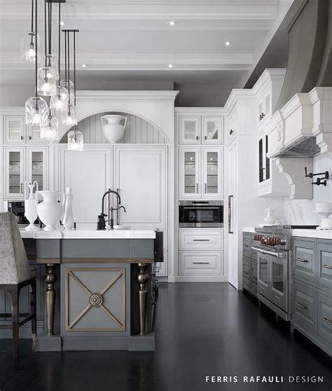 white upper cabinets grey lower white upper cabinets and gray lower cabinets with gray 262 | white gray french kitchen dark stained wood floors staggered island lights