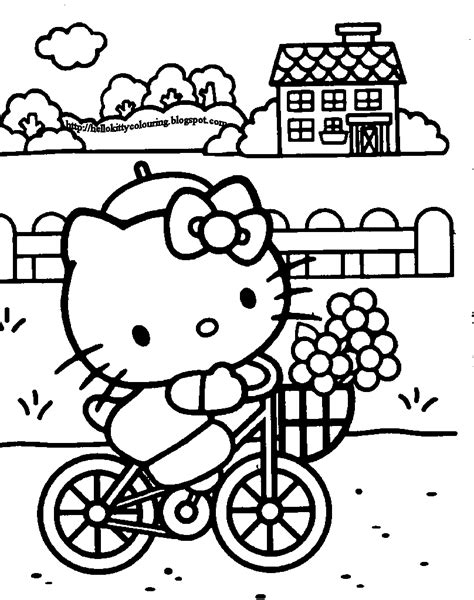 kitty coloring pages  sun flower pages