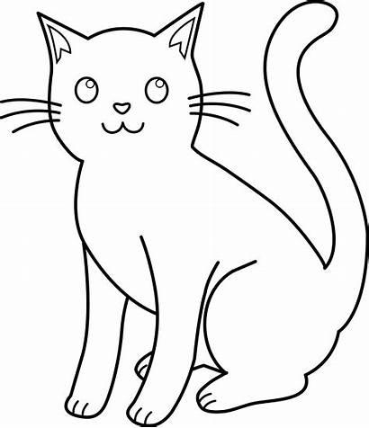 Cat Clip Line Outline Clipart Lineart Coloring