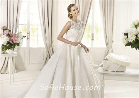 A Line Scoop Neck Keyhole Back Lace Satin Wedding Dress
