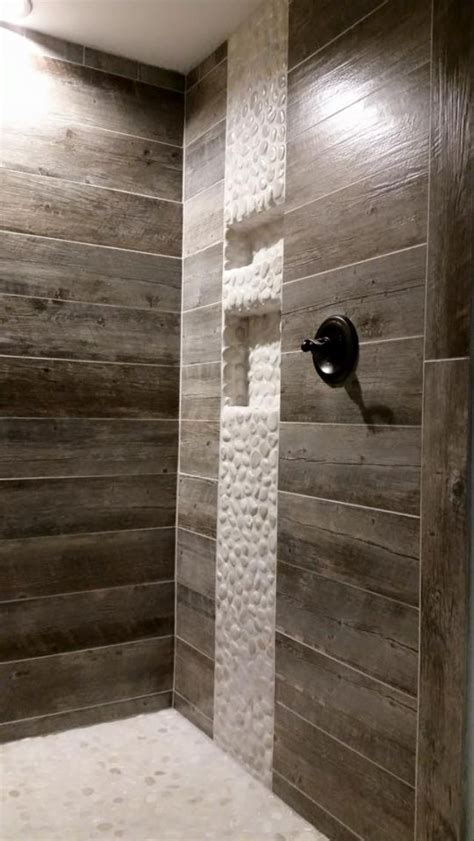 rustic shower   tile    weathered