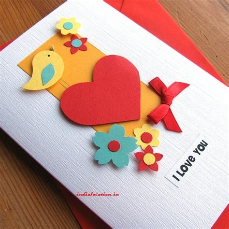 Valentine's Day Easy Hand Made Card Designs  India Location