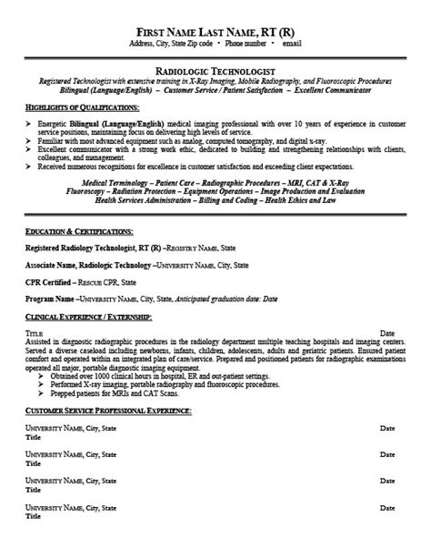 resume for radiologic technologist radiologic technologist resume template premium resume sles exle