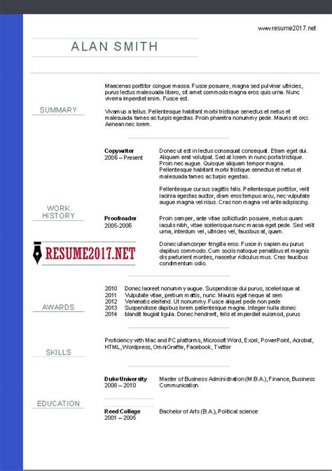 Best Resume Styles 2017 by Chronological Resume Format 2017