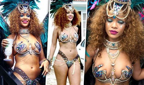 Rihanna risks nipple slip in sexy jewelled bikini as she parties in Barbados   Celebrity News ...