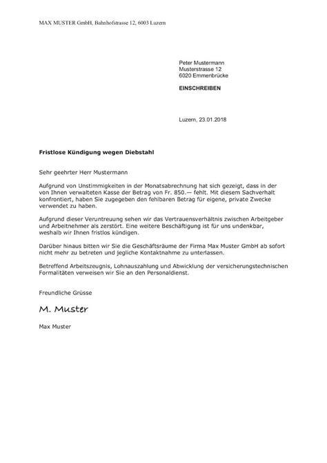 fristlose kündigung mietvertrag muster fristlose k 252 ndigung durch arbeitgeber schweiz vorlage muster vorlage ch