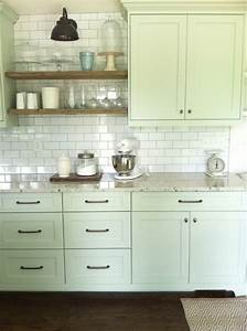 Light green cabinets cottage kitchen benjamin moore for Kitchen colors with white cabinets with tea light holder wall art