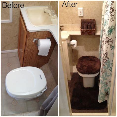 travel trailer remodel bathroom  tile flooring painted cupboards  water pipes