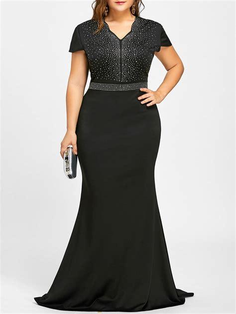 dresses black xl  size rhinestone embellished maxi dress gamiss