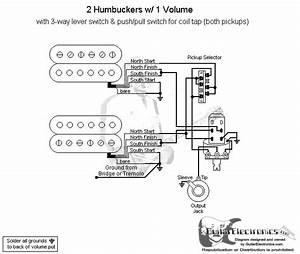 Guitar Wiring Diagram Two Humbuckers 1 Volume 1 Tone : 2 humbuckers 3 way lever switch 1 volume coil tap ~ A.2002-acura-tl-radio.info Haus und Dekorationen