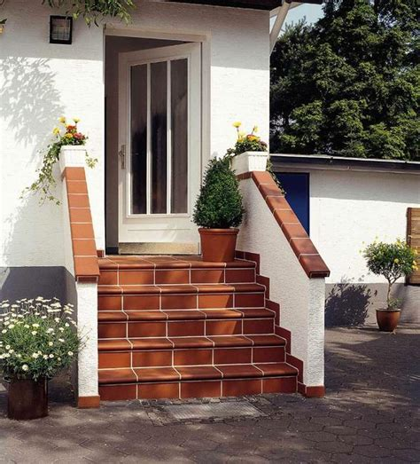 building exterior stairs  classy bricks  modern tiles